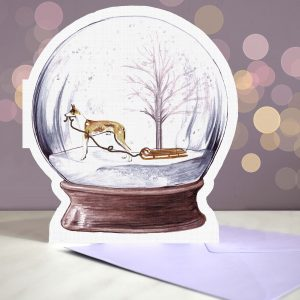 Ibizan Hound – Snow Globe Pop Up Card