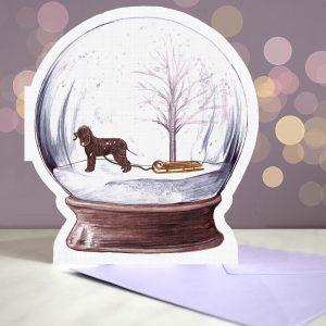 Irish Water Spaniel – Snow Globe Pop Up Card