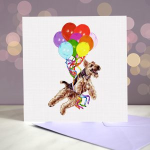 Welsh Terrier Greeting Card – Pup, Pup & Away